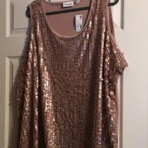 Sequinned Tank Top Brown | Size 30/32 NWT
